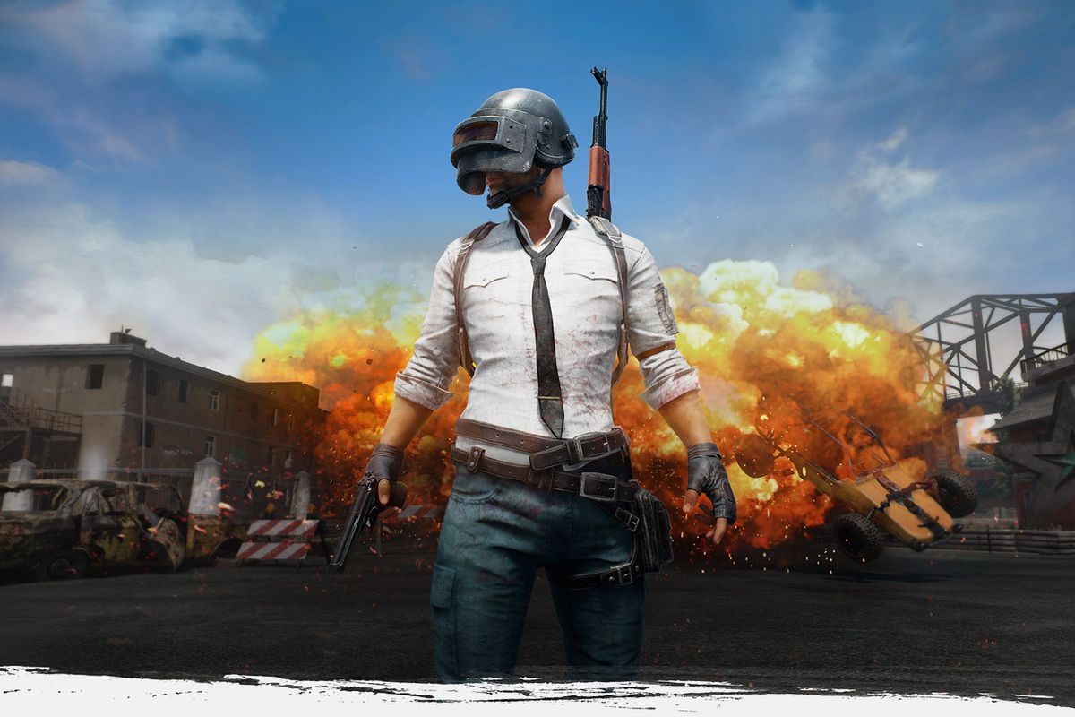 PlayerUnknown's Battlegrounds - art of man in helmet standing in front of an explosion