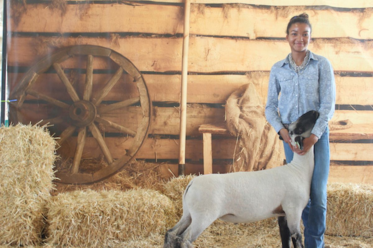 Zaria Schaffer, a sophomore at Denver Online High School, poses with her lamb Leroy.
