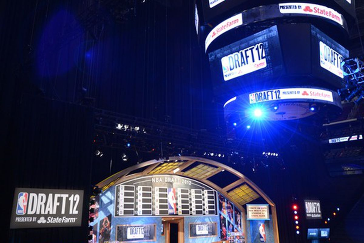 June 28, 2012; Newark, NJ, USA; A general view of the stage and scoreboard before the 2012 NBA Draft at the Prudential Center.  Mandatory Credit: Jerry Lai-US PRESSWIRE