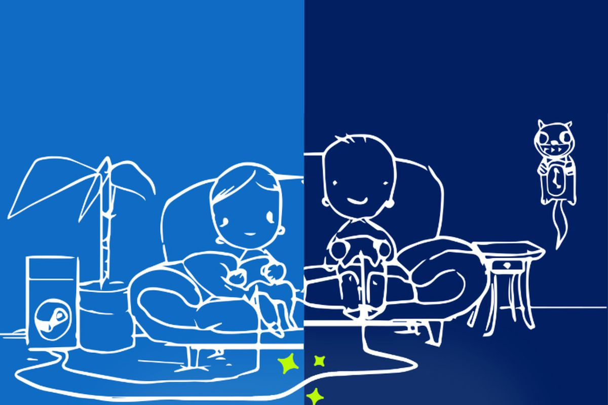 cartoon illustration of two friends sharing a game on a couch