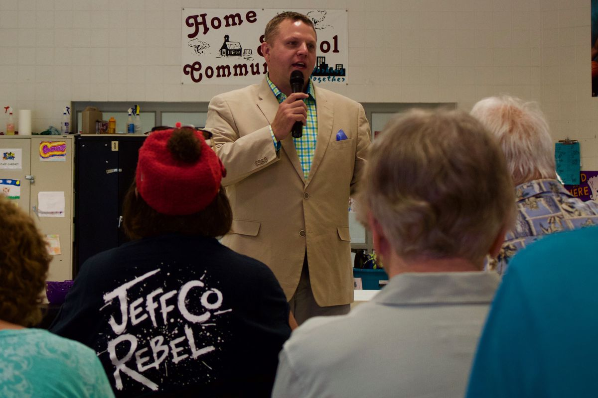 Jeffco superintendent Jason Glass at the Boys & Girls in Lakewood (Marissa Page, Chalkbeat).