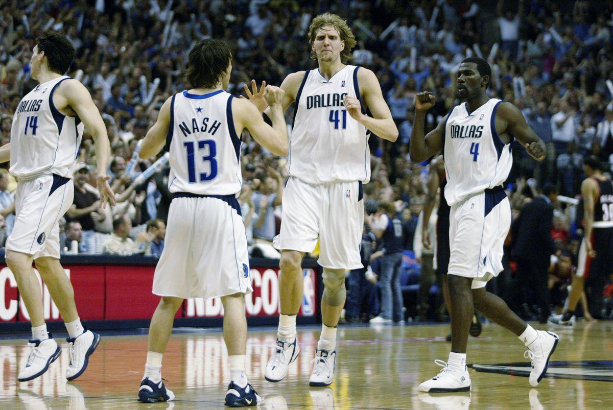 Nowitzki, Nash and Finley celebrate