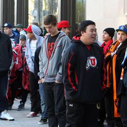People line up to shop at City Creek Center in Salt Lake City, Thursday, March 22, 2012.