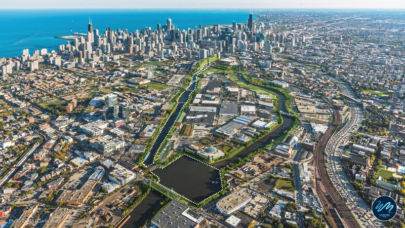 Aerial view of Wild Mile and the North Branch of Chicago River.