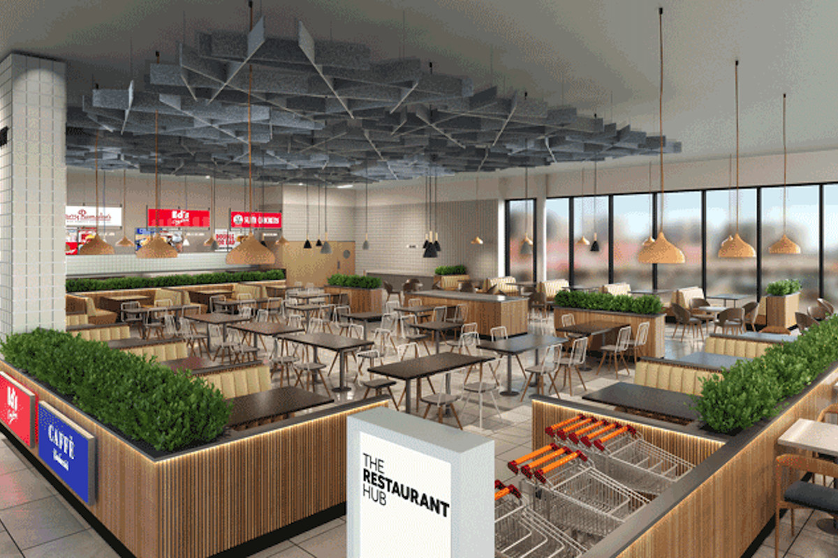 A rendering of a mixed quick-service restaurant hub, set up with canteen tables