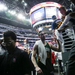 Utah Jazz forward Gordon Hayward (20) comes off the court after the Jazz's 96-92 win in game five of the first round NBA playoffs series between the Utah Jazz and the Los Angeles Clippers at the Staples Center in Los Angeles on Tuesday, April 25, 2017.