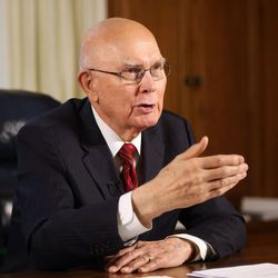 President Dallin H. Oaks answers interview questions at his office in the Church Administration Building in Salt Lake City on Wednesday, Jan. 10, 2018, a week prior to his call to the First Presidency..