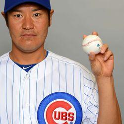 "The phrase from the last photo loosely translated into Japanese: ""ここに。野球をしています"" -- Hisanori Takahashi"