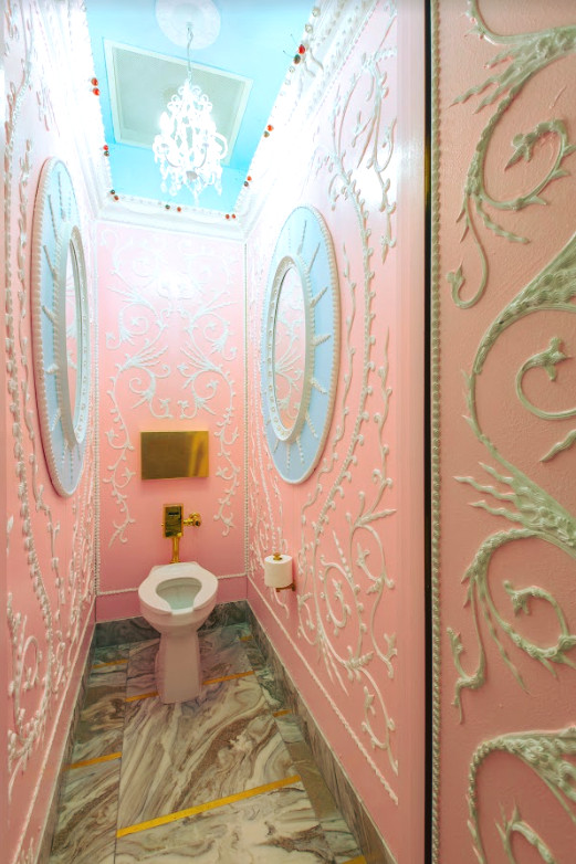 A very pink bathroom
