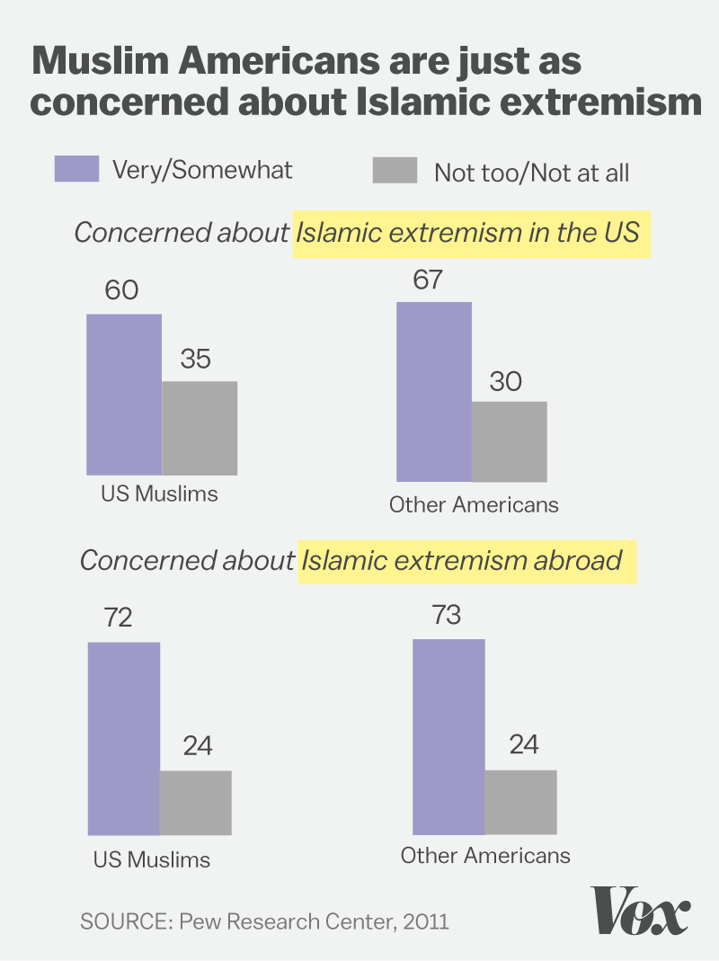 Chart showing Muslims are just as concerned about terrorism as American public