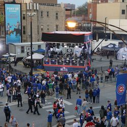 The FOX Sports broadcast stage in the parking lot, before the game