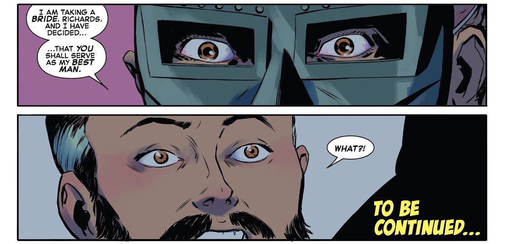 Doctor Doom tells a stunned Reed Richards that he's chosen him as his best man in Fantastic Four #32, Marvel Comics (2021).