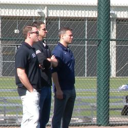 The brass watching the live batting practice