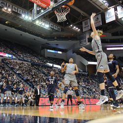 UConn's Katie Lou Samuelson (33) lays it in during the Notre Dame Fighting Irish vs UConn Huskies women's college basketball game in the Women's Jimmy V Classic at the XL Center in Hartford, CT on December 3, 2017.
