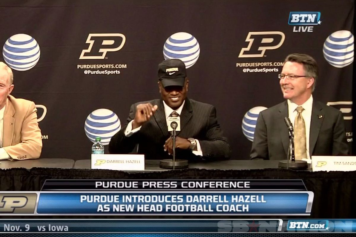 New Purdue head caoch Darrell Hazell reflects on a time where his hats fit.