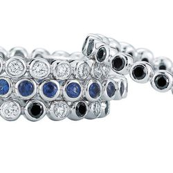 Kwiat Stackable Bezel Set Bands in Diamond, Black Diamond, Blue Sapphire and Black and White Diamonds