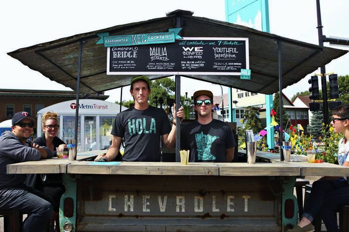 The outdoor bar at Hola Arepa will be open this weekend.