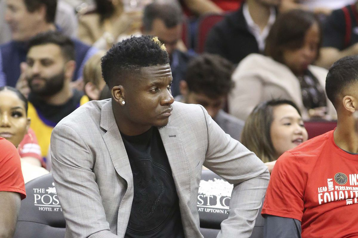 Houston Rockets center Clint Capela sits on the bench as a healthy scratch against the Charlotte Hornets in the second half at Toyota Center.