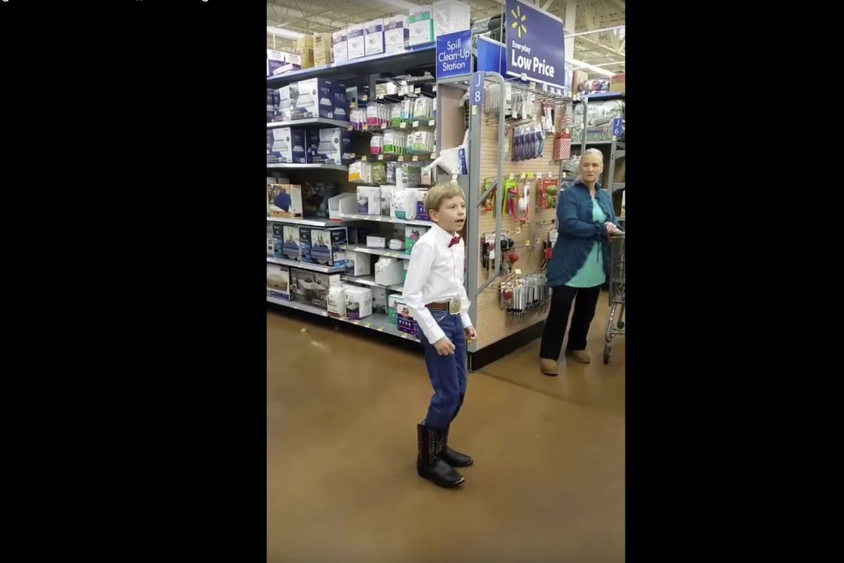 Ten-year-old Mason Ramsey yodels at Walmart in Harrisburg, Illinois.