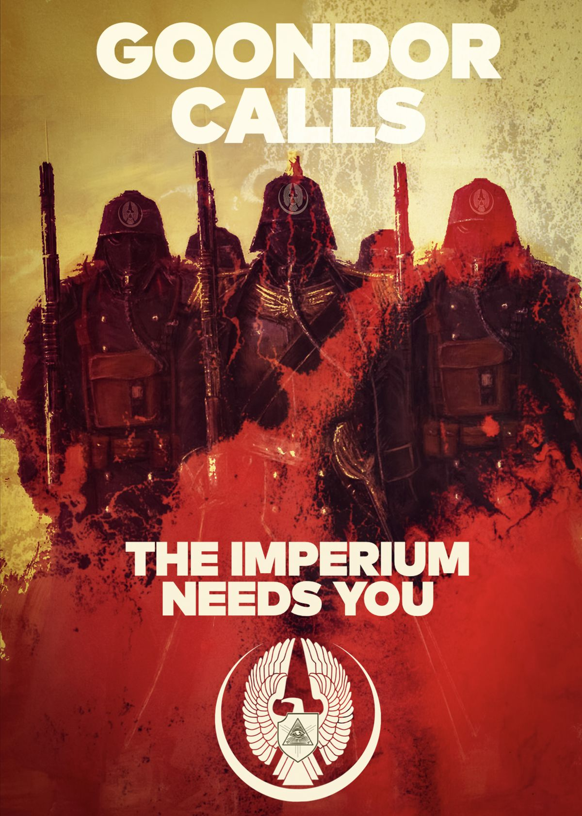 """Three soldiers, dark silhouettes, stand against a blood-colored foreground. """"Goondor calls,"""" reads the text. """"The Imperium needs you."""""""