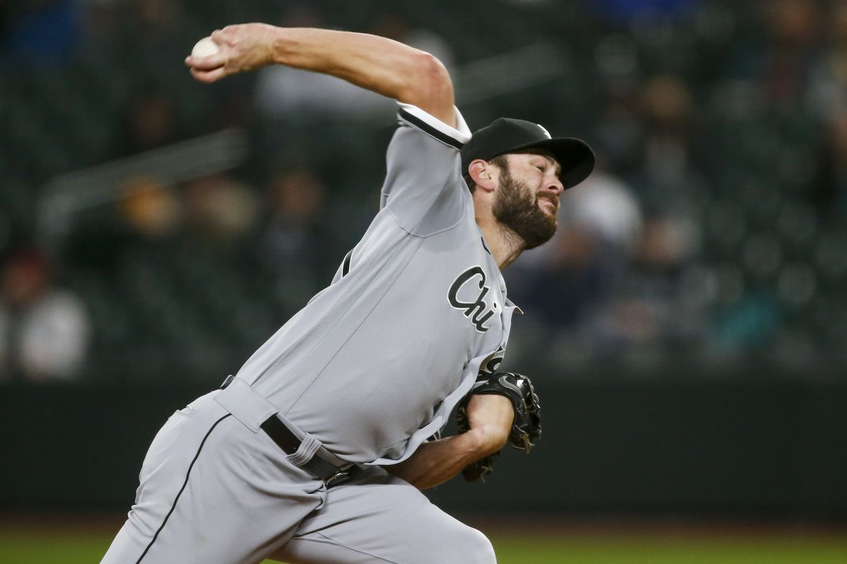 Chicago White Sox starting pitcher Lucas Giolito throws against the Seattle Mariners during the third inning during the first inning at T-Mobile Park.