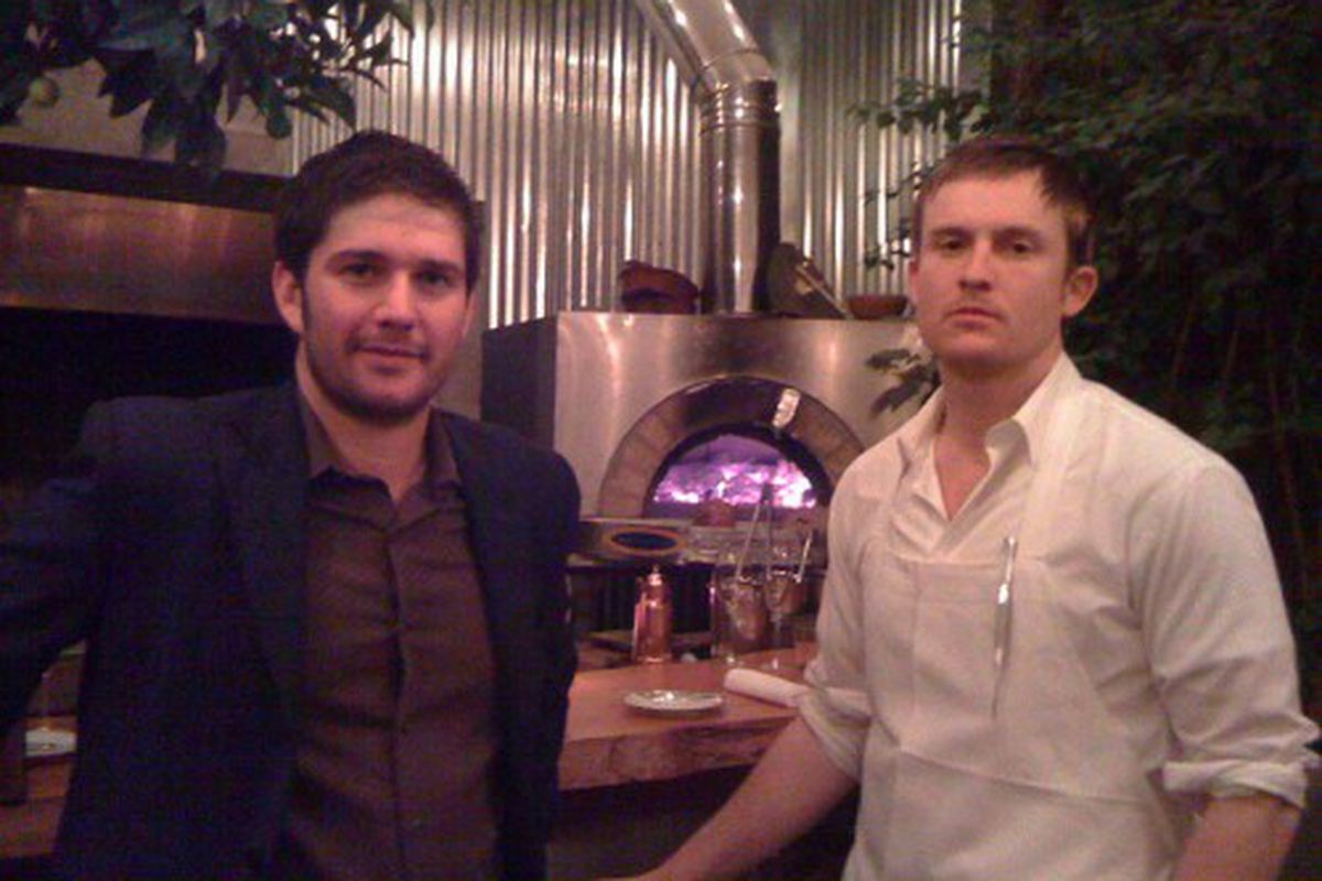 Mark Bright (left) and Josh Skenes in front of the wood-burning hearth used at Saison and Dcantr