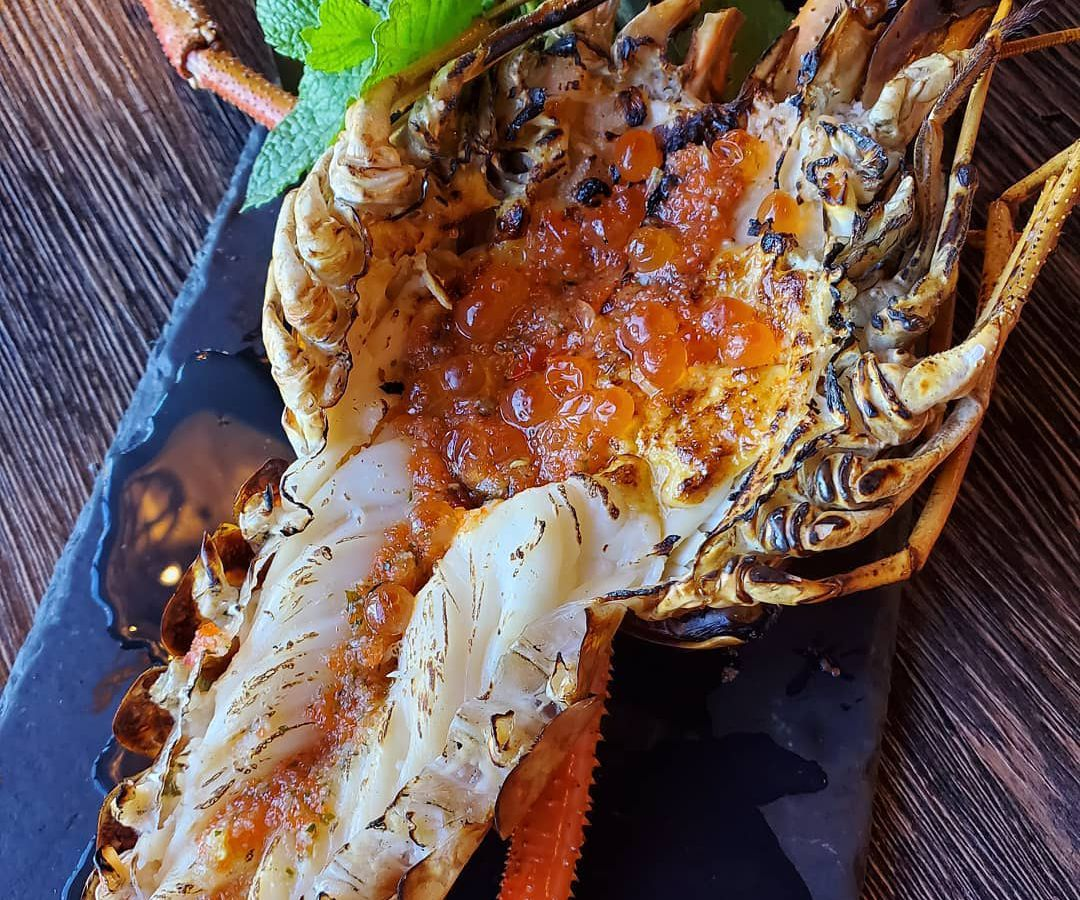 Grilled river prawn with spicy seafood masago ikura at Lamaii