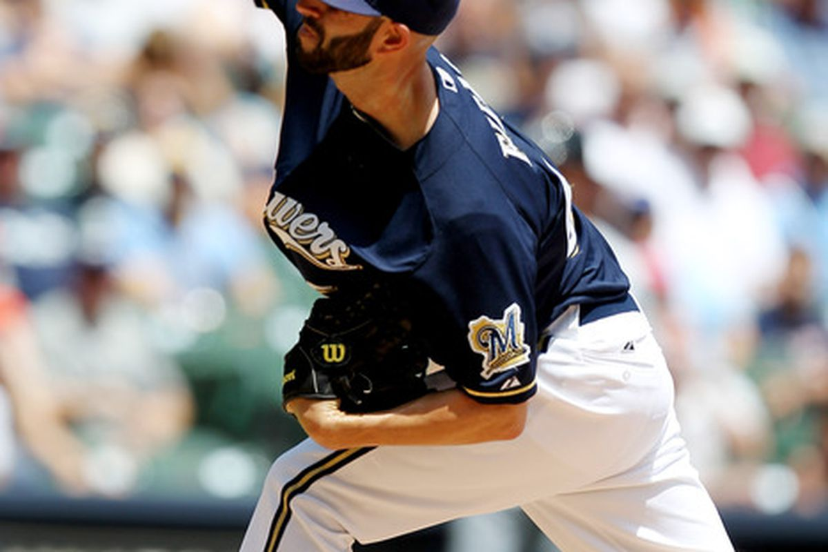 MILWAUKEE, WI - JULY 05: Mike Fiers #64 of the Milwaukee Brewers pitches against the Miami Marlins in the top of the 1st inning at Miller Park on July 05, 2012 in Milwaukee, Wisconsin. (Photo by Mike McGinnis/Getty Images)