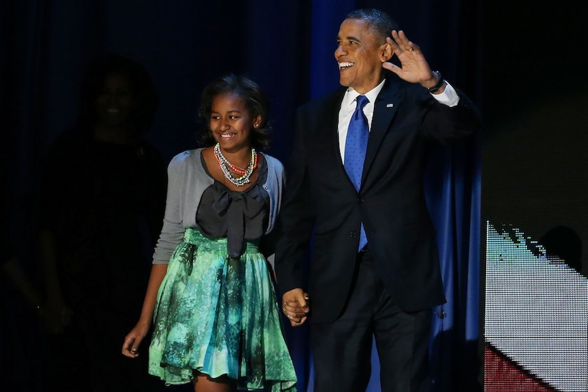 Sasha and Barack Obama, via Getty