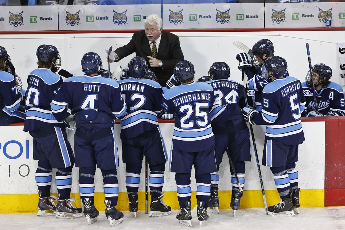 Red Gendron talks to his players behind the bench during a recent game at Quinnipiac.
