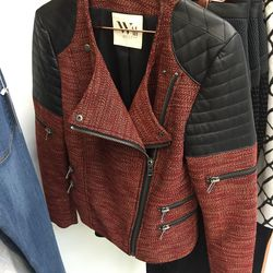 West 14th wool and leather moto jacket, $295 (was $440)