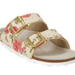 "<b>Birkenstock</b> Floral-Print Arizona Sandals, <a href=""http://www.barneys.com/on/demandware.store/Sites-BNY-Site/default/Product-Show?pid=503360502&cgid=womens-sandals&index=37"">$245</a> at Barneys"