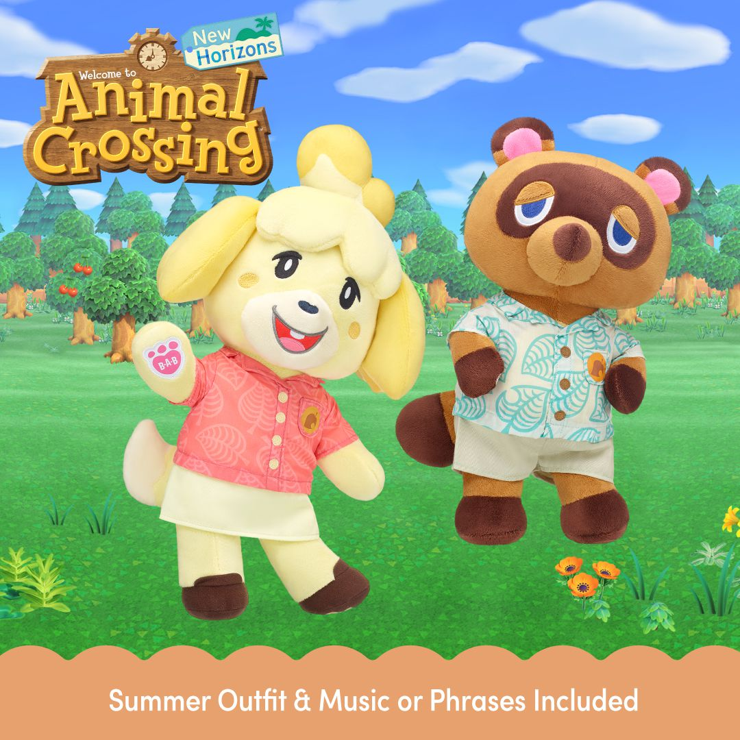 Artwork for the Isabelle and Tom Nook Build-A-Bear stuffed animals.