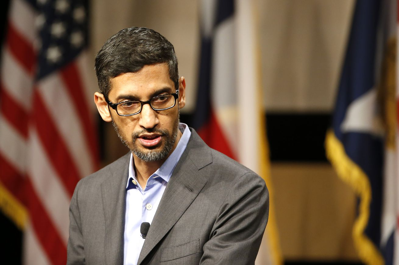 Google CEO Sundar Pichai speaks before signing the White Houses Pledge To Americas Workers at El Centro Community College on October 3rd in Dallas