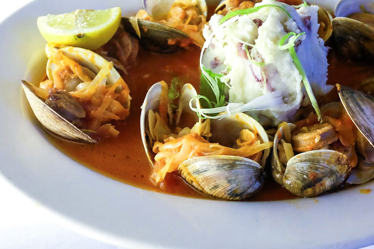 Spicy clam roast with Al Forno mashed potatoes at Al Forno in Providence