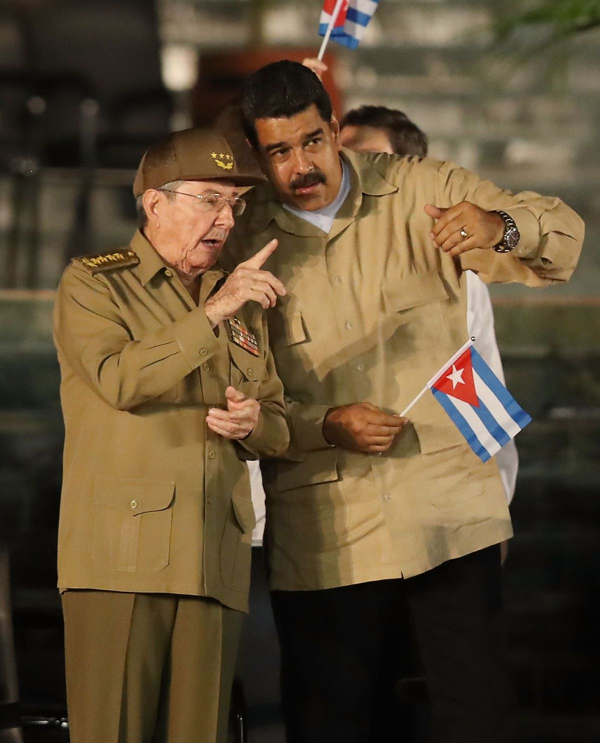 Venezuelan President Nicolas Maduro and Cuban President Raul Castro at a memorial service for former Cuban leader Fidel Castro on December 3, 2016.