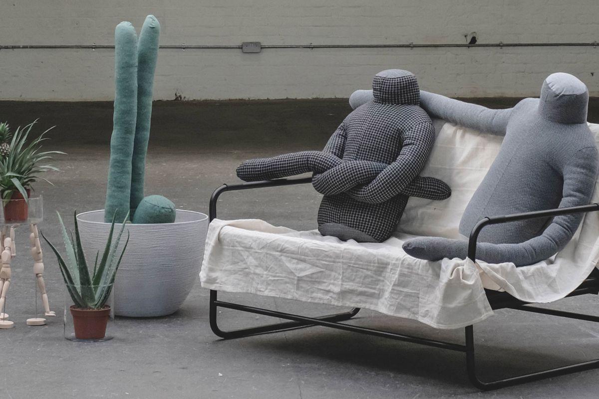 Headless pillows on bench