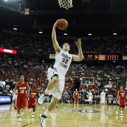 Brigham Young Cougars guard Jimmer Fredette (32) scores 52 points and beats New Mexico during the Mountain West Tournament in Las Vegas, NV, Friday, March 11, 2011. (Jeffrey D. Allred, Deseret News)