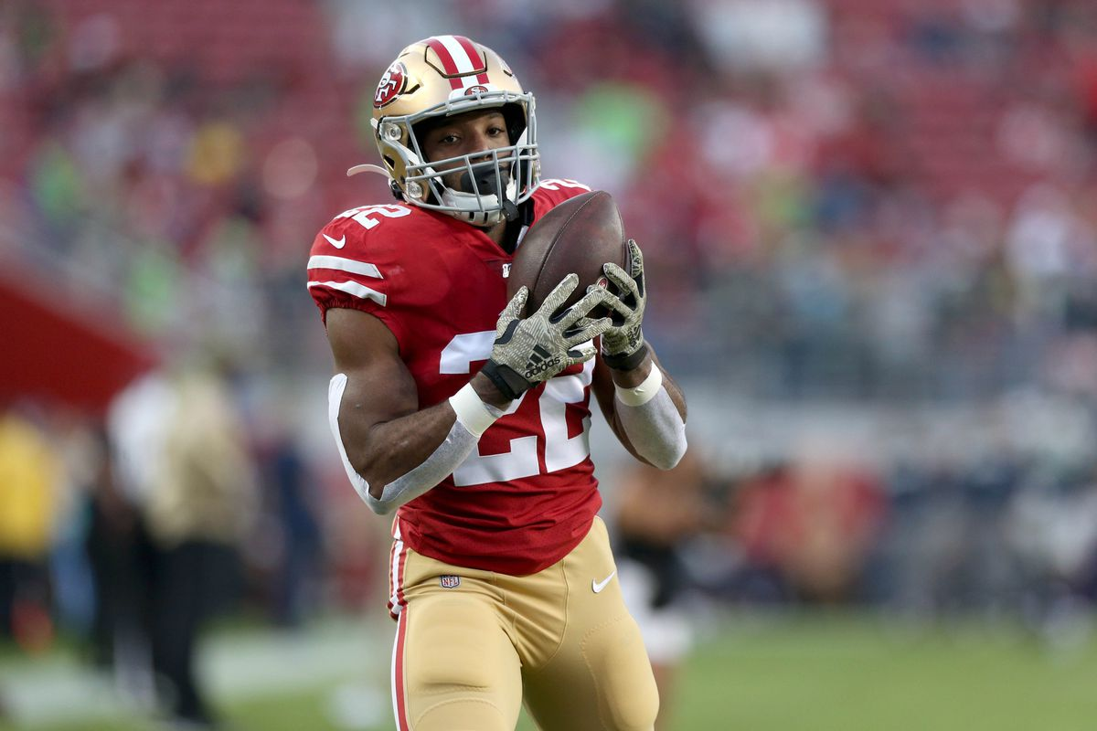 San Francisco 49ers running back Matt Breida catches a pass before the start of the game against the Seattle Seahawks at Levi's Stadium.