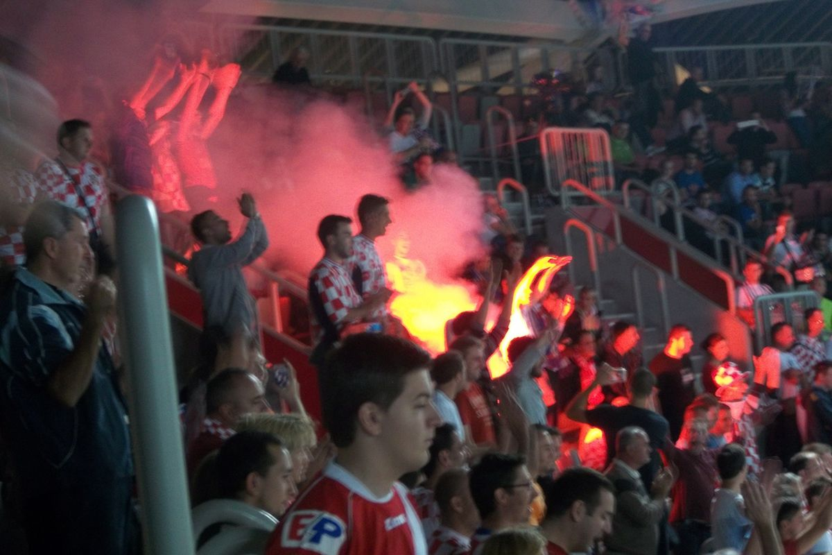Croatia's win drew some inspired cheers from their fans....and one road flare.