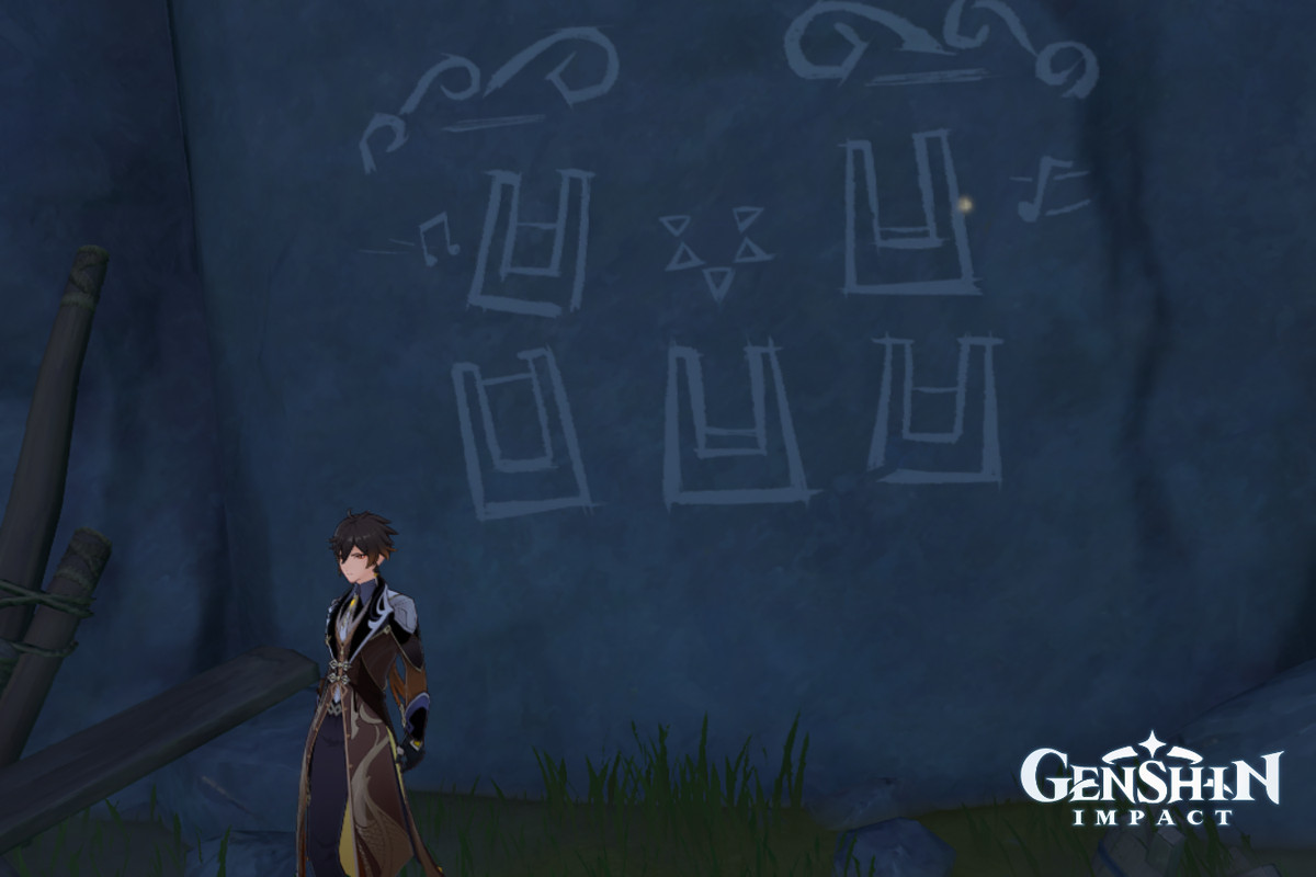 Zhongli stands in front of the Broken Isle Mural