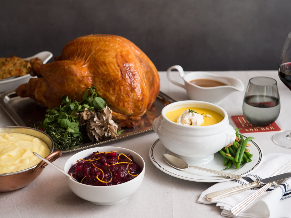 Turkey with chestnut stuffing and all the fixings at DBGB