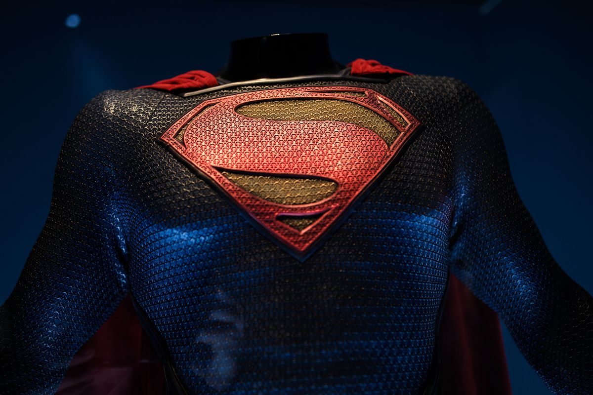 A Superman costume from the 2013 Man of Steel film.