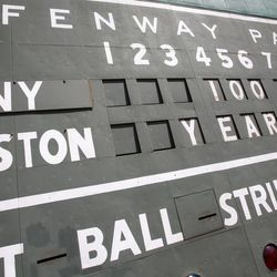 The Green Monster scoreboard at Fenway Park is seen before a baseball game between the New York Yankees and the Boston Red Sox in Boston, on the 100th anniversary of the opening of the ballpark, Friday, April 20, 2012.