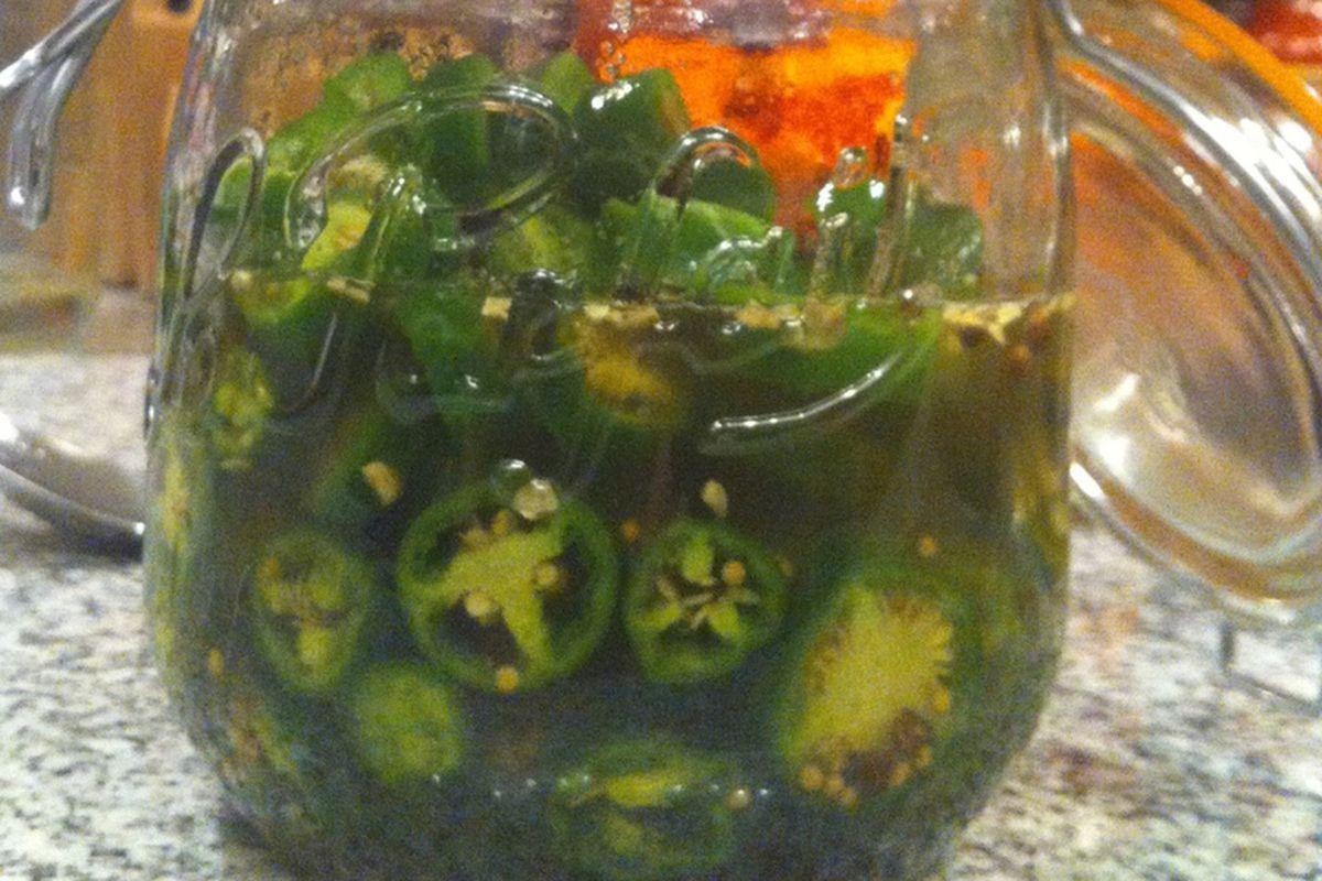 Bourbon-pickled jalapenos