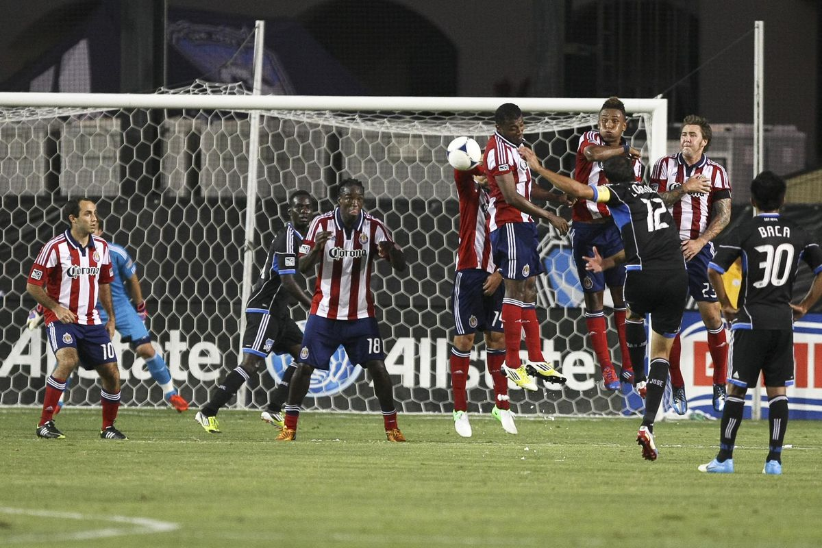 September 2, 2012; Santa Clara, CA, USA; Memo to Chivas USA: Don't let any free kick goals go in this time around, please. Mandatory Credit: Kelley L Cox-US PRESSWIRE