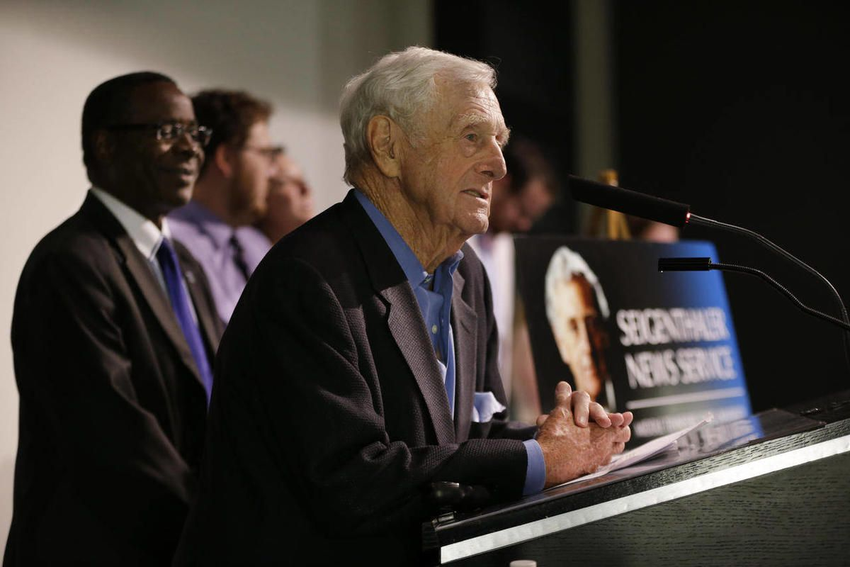 In this Sept. 19, 2012 photo, John Seigenthaler, founder of the First Amendment Center at Vanderbilt University and a former editor and publisher of The Tennessean, speaks at the announcement of a project that allows college journalists to cover the feder