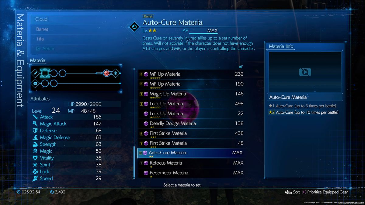 The information screen about the Auto-Cure materia in the Final Fantasy 7 Remake