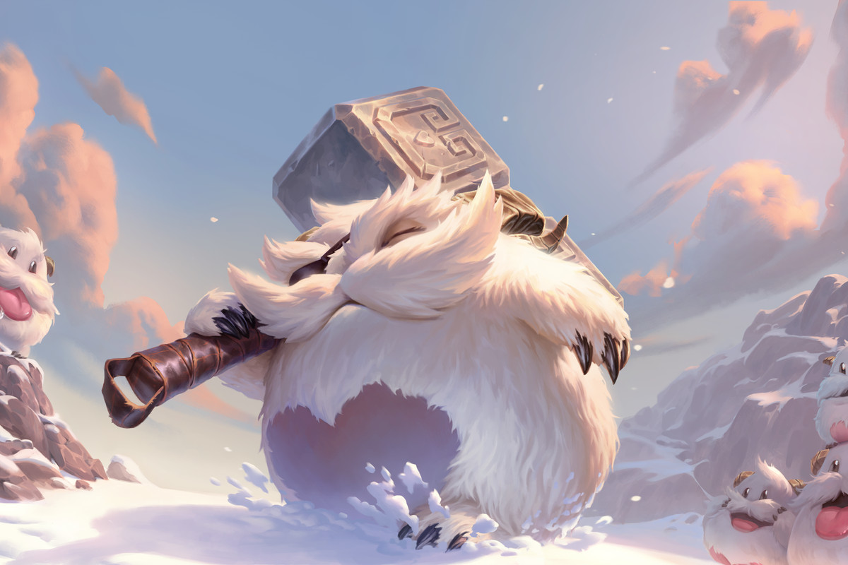 Legends of Runeterra's mighty poro wanders through the snow with a hammer