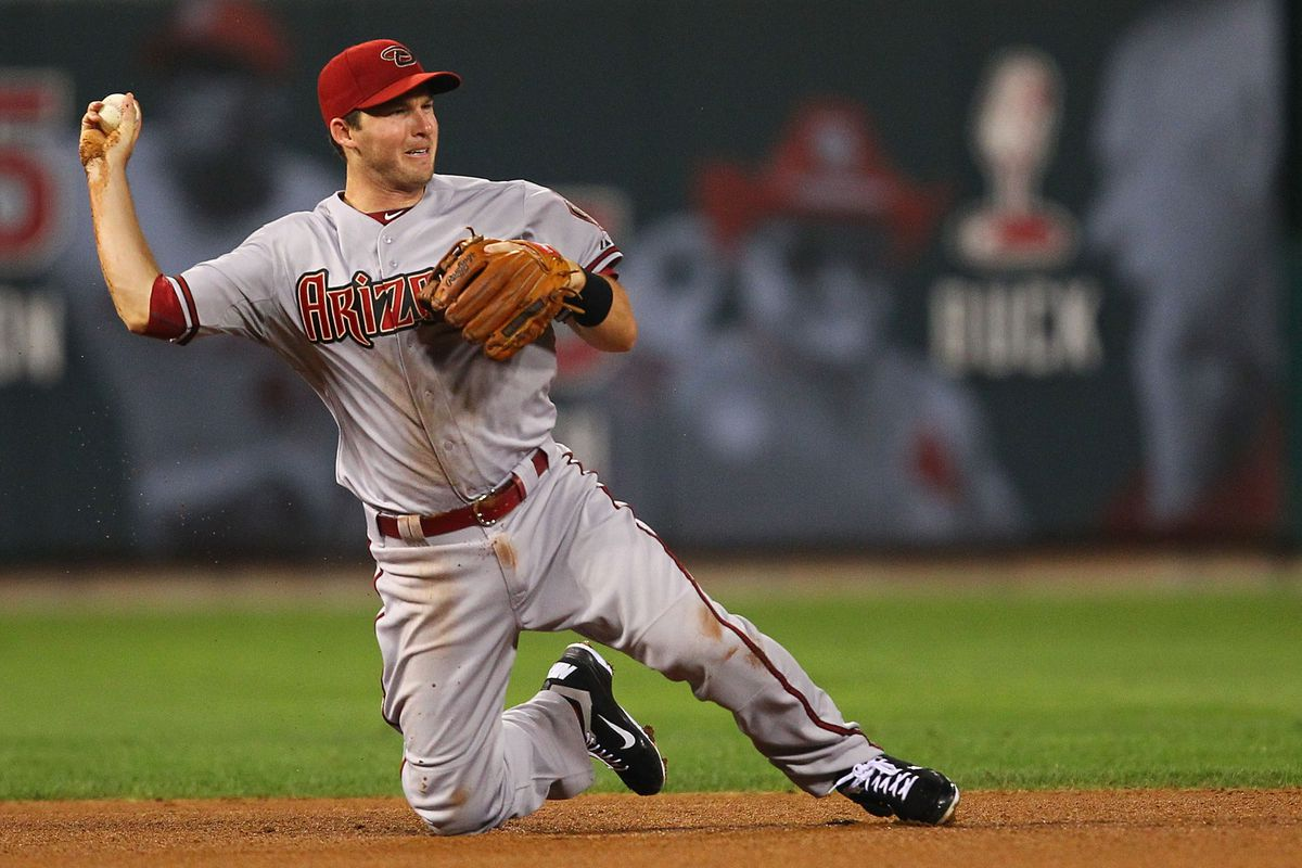 ST. LOUIS, MO - AUGUST 14: Stephen Drew #6 of the Arizona Diamondbacks throws to second base against the  St. Louis Cardinals at Busch Stadium on August 14, 2012 in St. Louis, Missouri.  (Photo by Dilip Vishwanat/Getty Images)